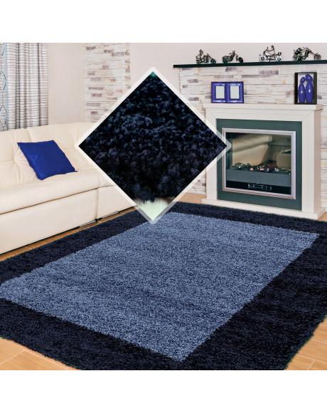 Hochflor Langflor Wohnzimmer Shaggy Teppich 2 Farbig Florhöhe 3cm Navy Blau
