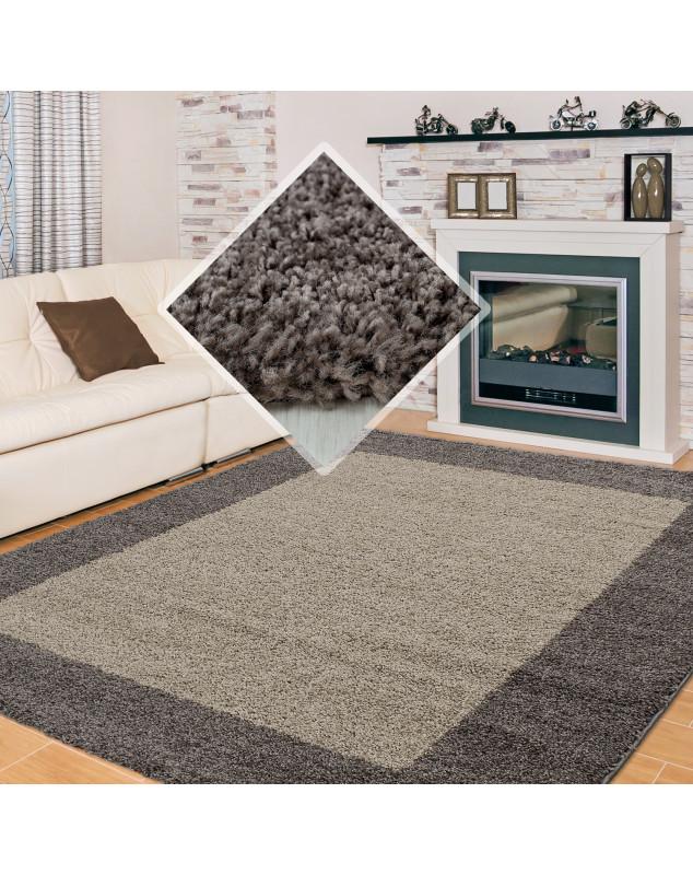 Hochflor Langflor Wohnzimmer Shaggy Teppich 2 Farbig Florhöhe 3cm Taupe Mocca