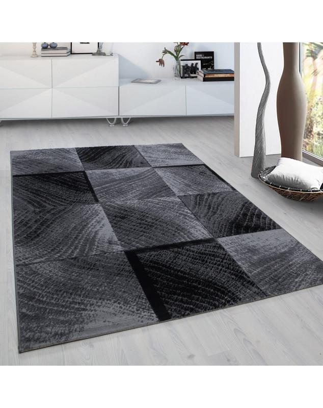 Moderner Designer Wohnzimmer Teppich kariert Wellenmotiv Plus 8003 Schwarz