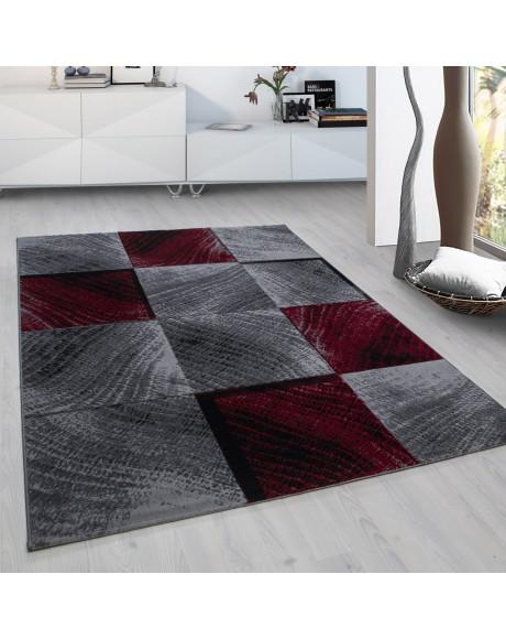 Moderner Designer Wohnzimmer Jugendzimmer Teppich Plus 8003 kariert Rot