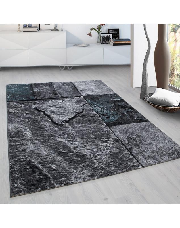 Designer Wohnzimmer Jugendzimmer Teppich Wandmotiv kariert Plus 8004 Türkis