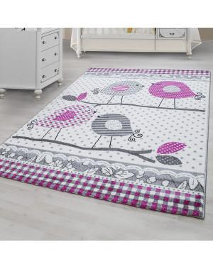 Designer Kinderteppich Kinderzimmer Teppich mit Vogelmotiv Kids 0520 Pink