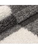 Hochflor Langflor Wohnzimmer Shaggy Teppich Florhöhe 3cm Grau-Weiss-Hellgrau