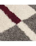 Hochflor Langflor Wohnzimmer Shaggy Teppich Florhöhe 3cm Grau-Weiss-Rot