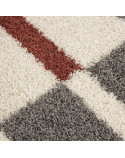 Hochflor Langflor Wohnzimmer Shaggy Teppich Florhöhe 3cm Grau-Weiss-Terrakotta