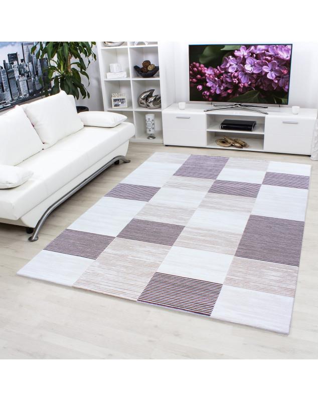 Hochwertiger Moderner Designer Wohnzimmer Teppich Empera Lavinia E1203 Violett