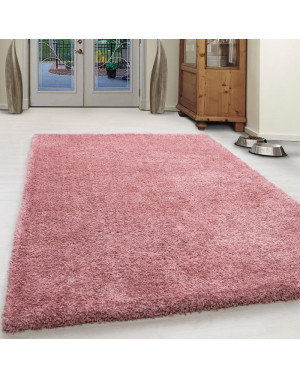 Shaggy Pile Living Room Carpet Solid Color Rose