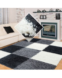 Shaggy pile living room Shaggy rug Black White gray plaid