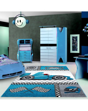 Children's carpet, kids room carpet with motifs of a formula 1 racing car Kids 0460 Blue