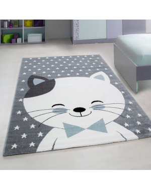 Children's carpet, kids room carpet with motifs cat Kids 550 Blue