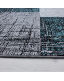 Modern Designer living room, youth room rug with block pattern turquoise