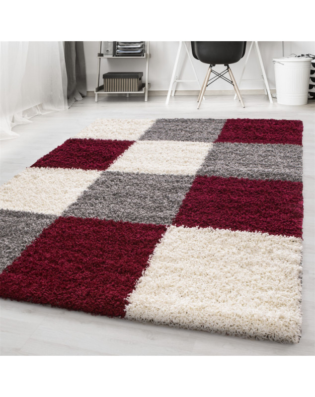 Shaggy pile living room Shaggy rug Red White grey plaid