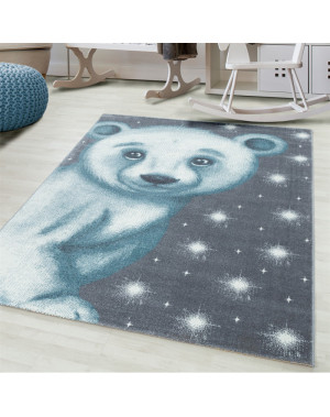 Children's carpet, kids room carpet 3D motif polar bear blue