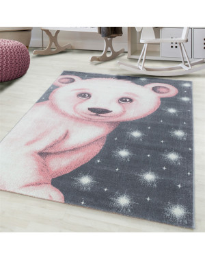 Children's carpet, kids room carpet 3D motif polar bear Pink