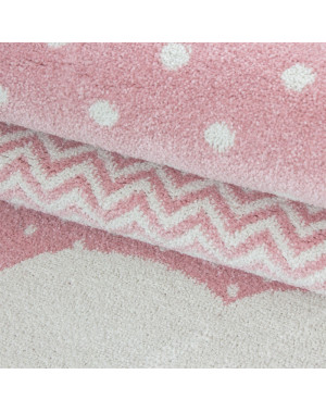 Children's carpet, kids room carpet 3D clouds motif of Pink grey White