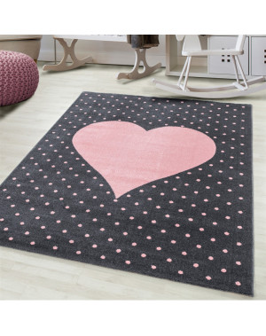 Children's carpet, kids room carpet 3D heart motif Pink gray