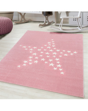 Children's carpet, kids room carpet 3D motif star Pink