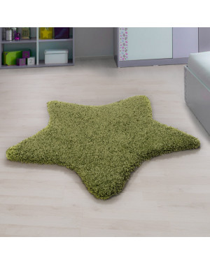 Living room, bedroom and children's room shaggy rug with a star Design, Green