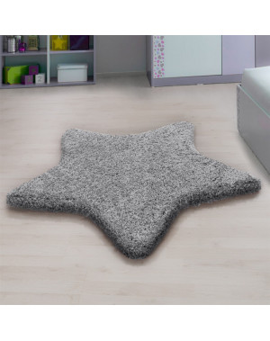 Living room, bedroom and children's room shaggy rug with a star Design, light grey