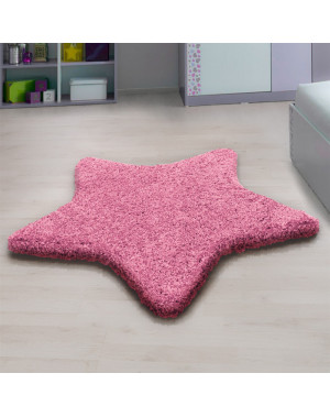 Living room, bedroom and children's room shaggy carpet with star Design, PINK