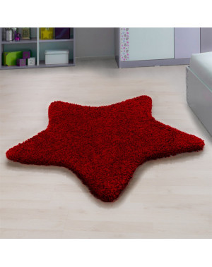 Living room, bedroom and children's room shaggy carpet with star Design, Red