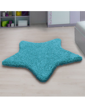 Living room, bedroom and children's room shaggy rug with a star Design in Turquoise