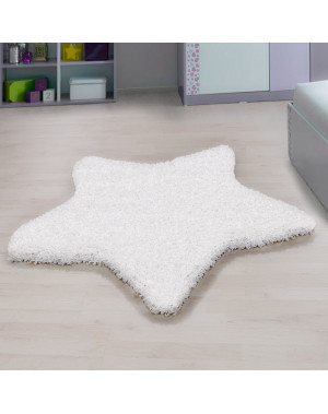 Living room, bedroom and children's room shaggy carpet with star Design, White