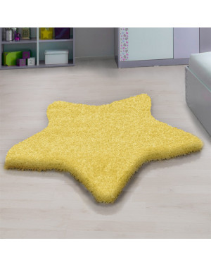 Living room, bedroom and children's room shaggy rug with a star Design, Yellow