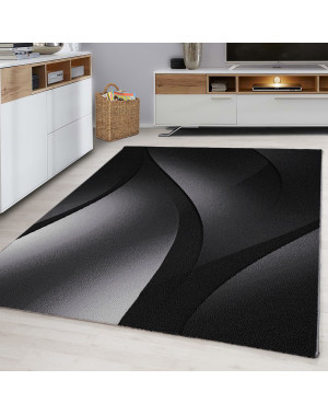 Designer Teen Bedroom Rug Wave Design Black