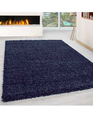 Shaggy pile living room Shaggy carpet pile height 3cm slim fit Navy