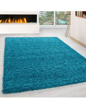 Shaggy pile living room Shaggy carpet pile height 3cm slim fit turquoise