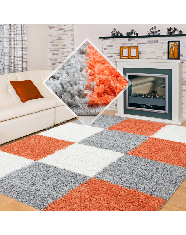 Shaggy pile living room Shaggy rug, checkered terracotta White grey