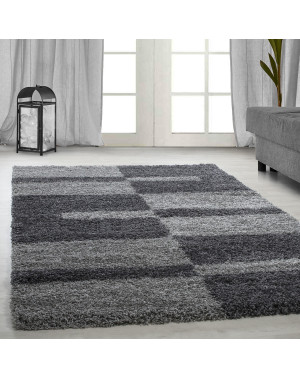 Shaggy pile living room GALA Shaggy carpet pile height 3cm-grey-light grey