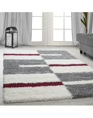 Structure à fibres longues Salon Shaggy Tapis de Parement 3cm Gris-Blanc-Rouge