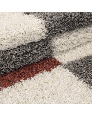 Shaggy pile living room Shaggy carpet pile height 3cm-grey-White-terracotta