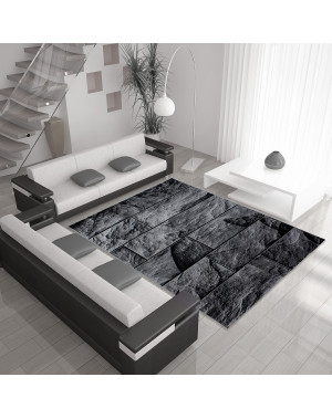 Modern Designer living room carpet with stone motif PARMA 9250 Black-grey